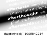 Small photo of afterthought word in a dictionary. afterthought concept.