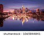 frankfurt skyline at night | Shutterstock . vector #1065844841