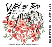 wild tiger and wild flowers... | Shutterstock .eps vector #1065845351