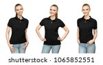 set variations promo pose girl... | Shutterstock . vector #1065852551