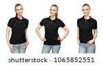 set variations promo pose girl... | Shutterstock . vector #1065852551