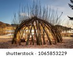 Small photo of wooden shelter outdoor