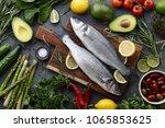fresh raw seabass and...   Shutterstock . vector #1065853625
