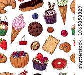multicolored vector bakery... | Shutterstock .eps vector #1065858329