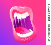 open shouting mouth. beautiful...   Shutterstock .eps vector #1065859445