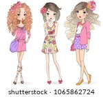 three hand drawn beautiful cute ... | Shutterstock .eps vector #1065862724