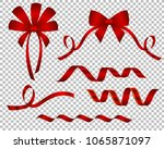 set of decorative beautiful red ... | Shutterstock .eps vector #1065871097