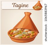 tagine with chicken meat and... | Shutterstock .eps vector #1065883967