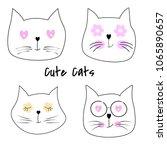 set cute cats cartoon vector... | Shutterstock .eps vector #1065890657