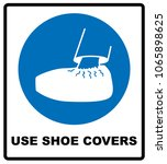 use shoe covers sign.... | Shutterstock . vector #1065898625