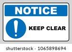 keep clear industrial warning... | Shutterstock . vector #1065898694