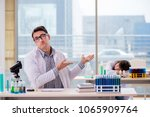 two chemists working in lab... | Shutterstock . vector #1065909764