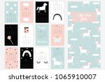 calendar 2019 with cute unicorn ... | Shutterstock .eps vector #1065910007