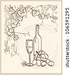 Hand drawn vineyard with a bottle of wine. - stock vector