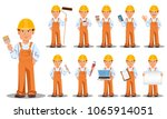 handsome builder in uniform ... | Shutterstock .eps vector #1065914051