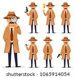 detective in hat and coat  set. ... | Shutterstock .eps vector #1065914054