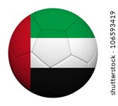 United Arab Emirates Flag Pattern 3d rendering of a soccer ball - stock photo