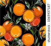 vector orange branch seamless... | Shutterstock .eps vector #1065937187
