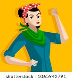 feminist with green scarf | Shutterstock .eps vector #1065942791