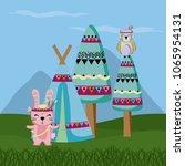 rabbit and owl cute hippie... | Shutterstock .eps vector #1065954131