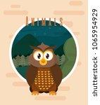 owl cute animal card | Shutterstock .eps vector #1065954929