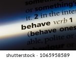 Small photo of behave word in a dictionary. behave concept.