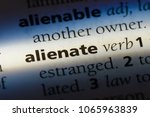 Small photo of alienate word in a dictionary. alienate concept.