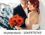 wedding snowboarders couple... | Shutterstock . vector #1065970745