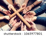 group of christianity people... | Shutterstock . vector #1065977801