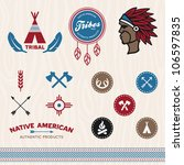 Set Of Native American Tribal...
