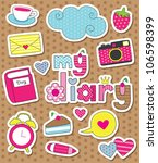 dear diary scrapbook elements.... | Shutterstock .eps vector #106598399
