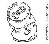 vector single sketch crumpled... | Shutterstock .eps vector #1065987347