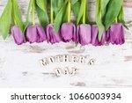 bouquet of purple tulips for... | Shutterstock . vector #1066003934