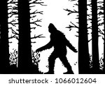 Stock vector silhouettes of bigfoot silhouette of the forest wild nature 1066012604