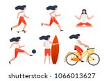 vector set of girls in... | Shutterstock .eps vector #1066013627