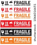 fragile handle with care with... | Shutterstock .eps vector #1066016651