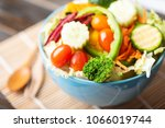 vegetables salad in a bowl ... | Shutterstock . vector #1066019744