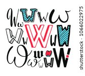 letters w set. different styles.... | Shutterstock .eps vector #1066022975