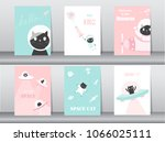 Stock vector set of cute cat on space backgrounds design for kid cards vector illustrations 1066025111
