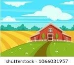 farm house or farmer household... | Shutterstock .eps vector #1066031957