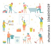 house cleaning people character ...   Shutterstock .eps vector #1066045439