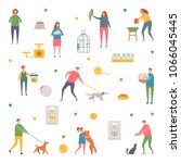 people with their pets cat  dog ... | Shutterstock .eps vector #1066045445