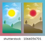 day and night landscape... | Shutterstock .eps vector #1066056701