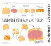 recipe of sandwich with ham and ... | Shutterstock .eps vector #1066058669