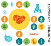 diwali. indian festival icons.... | Shutterstock .eps vector #1066062071