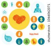 diwali. indian festival icons.... | Shutterstock .eps vector #1066062071