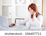 young business woman working... | Shutterstock . vector #106607711
