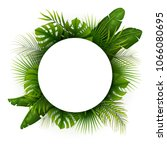 tropical green leaves with... | Shutterstock .eps vector #1066080695