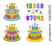 set of birthday pies with...   Shutterstock .eps vector #106608101