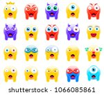 set of faces screaming in fear. ... | Shutterstock .eps vector #1066085861